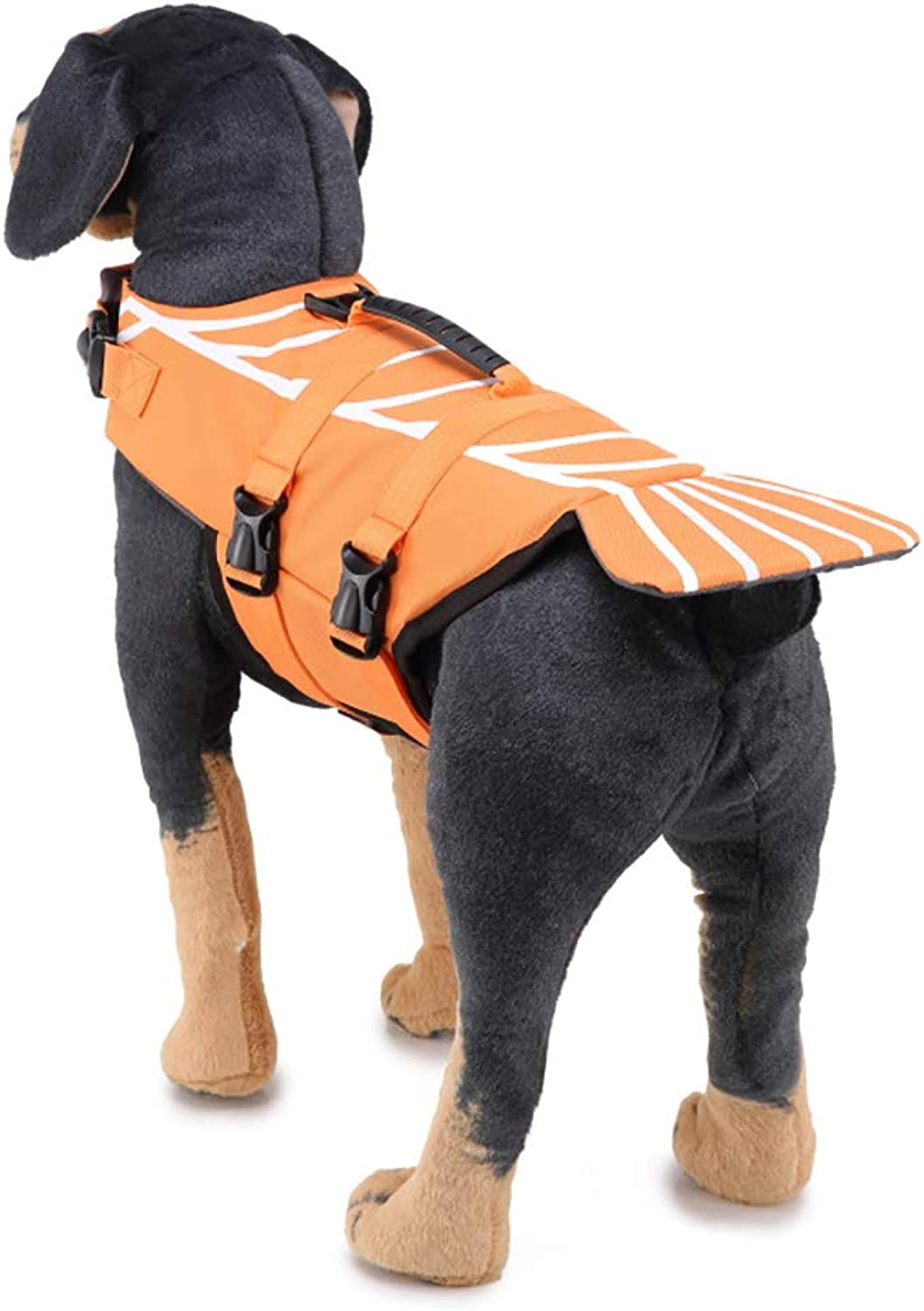 Lightweigh Dog Life Jackets Polyester Fish Style Floatation Vest with Adjustable Soft Rubber Handle Swimming Vest,M
