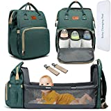 DEBUG Baby Diaper Bag Backpack with Changing Station Diaper Bags for Baby Bags for Boys Girl Diper Bag with Bassinet Bed Mat Pad Men Dad Mom Travel Waterproof Stroller Straps Large Capacity Green