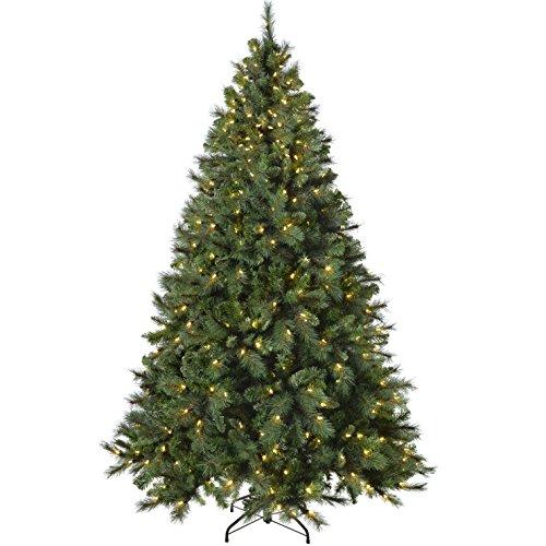 WeRChristmas Pre-Lit Victorian Pine Multi-Function Christmas Tree with 500 Warm White Candle LED Lights, Green, 7 feet/2.1 m