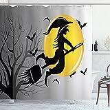 ABAKUHAUS Halloween Duschvorhang, Hexe fliegt auf Vollmond, Hochwertig mit 12 Haken Set Leicht zu pflegen Farbfest Wasser Bakterie Resistent, 175x180 cm, grau Senf