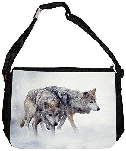 Merchandise for Fans Schultertasche - 38x28x8cm, 8,5 Liter, schwarz Motiv: Wolf/Grauwolf/Polarwolf/Europäischer Wolf - 01
