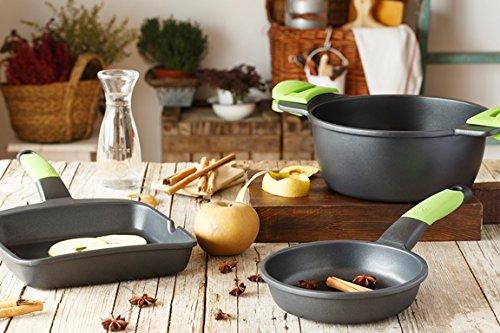 BRA PRIOR - Grill asador con rayas, 28 cm, aluminio fundido con antiadherente Teflon Innovations, apto para todo tipo de cocinas incluida inducción
