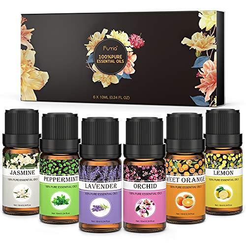 Funria Huiles Essentielles Aromathérapie 100% Pure et Naturelle Huiles Essentielles - Lavande, Menthe Poivrée, Citron, Orange Douce, Jasmin, Orchidée Huiles Essentielles, 6 x 10ML
