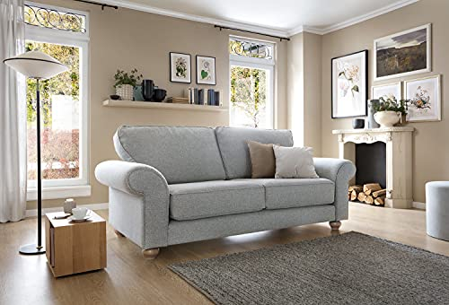Abakus Direct | Ingrid 3- oder 2-Sitzer-Sofa-Set, Sessel, Kuschelsessel in Smart Linen hellgrau (3-Sitzer)