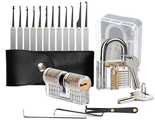 Lokko-Dietrich-Set mit 2 Trainingsschlössern mit Lockpicking-Schlüssel, Abzieherwerkzeug und e-Anleitung für Anfänger, 15 Stück