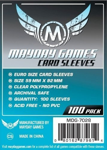 Mayday Games 59 x 92 mm Sleeves Euro Card Game (Pack of 100)