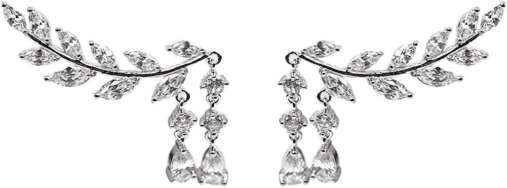 litymitzromq Stud Earrings for Women Girls, Shiny Rhinestone Inlaid Leaves Shape Tassel Ear Stud Women Earring Jewelry Gift Christmas Earrings Birthday Gift Wedding Jewelry