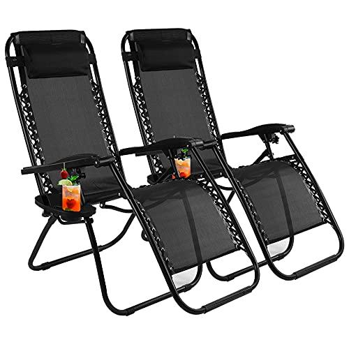 VIROSA Set mit 2 schwarzen Gartenliegen, zero-Gravity-Stuhlen, Liegestuhl, zusammenklappbar, aus robustem Textoline, Klappstuhl mit Getränkehalter und Kopfstützenkissen (schwarz)