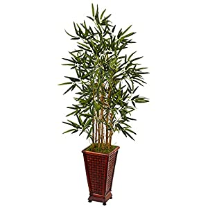 Nearly Natural 4.5' Bamboo Artificial Tree in Decorative Planter, Green