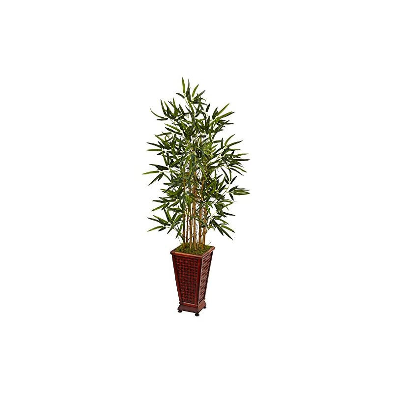silk flower arrangements nearly natural 4.5' bamboo artificial tree in decorative planter, green