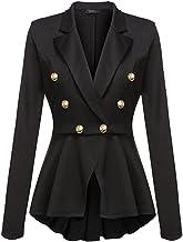 HaoMing Womens Casual Summer Lightweight Work Blazer Asymmetry Office Jacket