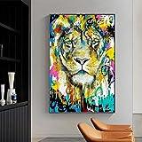 Cuadros Decorativos Mural Colorido León Tigre Animales Lienzo Pintura Graffiti Carteles artísticos e Impresiones imágenes artísticas de Pared para Sala de Estar decoración Moderna del hogar