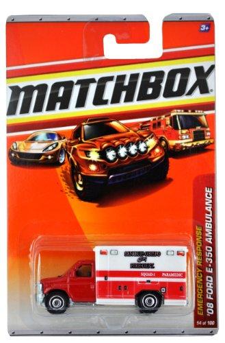 Matchbox 2009 MBX Emergency Response Series 1:64 Scale Die Cast Car #54 - San Luis Obispo City Fire Dept. Squad 1 Paramedic '08 Ford E-350 Ambulance (R4979)