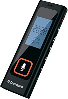 Tiny Digital Voice Activated Recorder by Dictopro - HQ Recording from Far Away, Record Lectures & Meetings, Sensitive Microphone, Automatic Noise Reduction, 582H Playback, Portable, Durable, USB, 8G