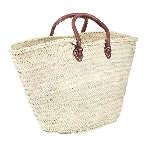 Marokkanische Strandtasche Ibiza Tasche Afnan | handgeflochtene Tragetasche aus Doum-Blättern mit Ledergriffen | Palmentasche mit viel Stauraum für Shoppen Freizeit Sommer Palmen Strand | FK1720
