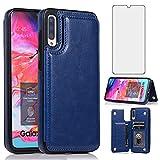 Asuwish Étui portefeuille en verre trempé pour Samsung Galaxy A50 avec protection d'écran et...