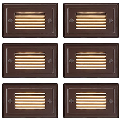 LEONLITE 12V 3W Surface Mount Low Voltage LED Step Light with Horizontal Louver Faceplate, IP65 Waterproof, Die-cast Aluminum, Oil Rubbed Bronze, 3000K Warm White, UL Listed Cord, Pack of 6