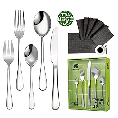 20-Piece Flatware Set Stainless Steel 18/10 with One Free Piece of Placemat Service for 4