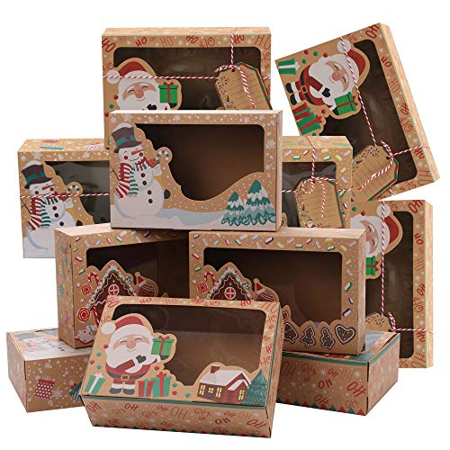 15 Pcs Christmas Cookie Gift Boxes with Window, Doughnut Cupcake Candy Treat Boxes for Gift Given, Christmas Party Favor Kraft Paper Boxes with Gift Tags & Ribbons