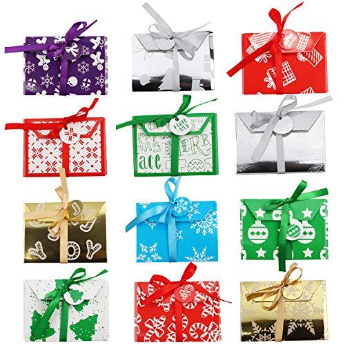 Geschenkbox für Geschenkkarte Weihnachten (36 Stk) -Gutschein Geschenkverpackung Boxen 12 Motive (je 3 Stk, 11x8x1cm) Weihnachtsboxen Festlich mit Band und Etikett für Geldgeschenk, Gutschein, Karten