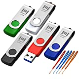 5 X MOSDART 64GB Multicolor USB 3.0 Flash Drive High Speed Swivel Bulk 64 GB Thumb Drives Fast Transfer Jump Drive with Extra 5 Lanyards,Black/Blue/Red/White/Green,5Pack