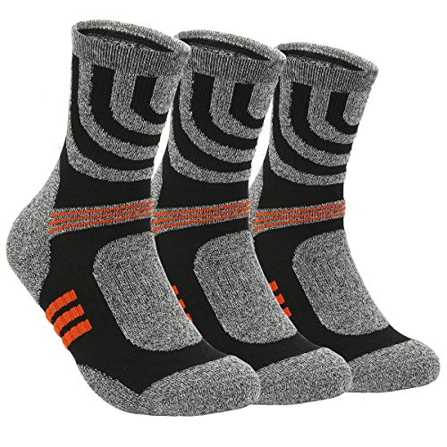 3 Pairs Hiking Walking Socks 4-7 UK Size for Men Women,No Blister Terry Cushion,Breathable,Warm,Moisture Wicking,Arch Support,for Outdoor Sports Running Walking Trekking Cycling Camping Golf Gym