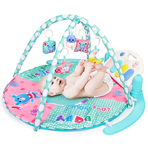 WloveTravel Baby Palestrina Tappetino, Kick And Play Piano Gym - 5 Giochi e attività Musicale Baby Toddler Infants Gioca a Gym for 6-36 Month Boys And Girls (Non includere Le batterie)