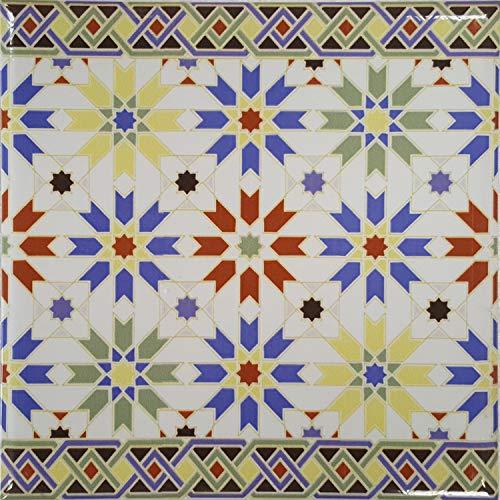 Casa Moro Marokkanische Fliesen-Bordüre Nador 20x20 cm mehrfarbig mit Mosaik-Muster | Orientalische Bordüre für Bad & Küchenrückwand | schöne Küche Flur & Badezimmer | FL7092