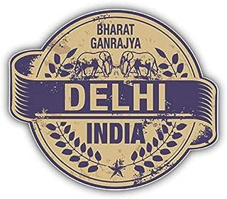 JJH Inc Delhi City India Grunge Travel Stamp Vinyl Decal Sticker Waterproof Car Decal Bumper Sticker 5