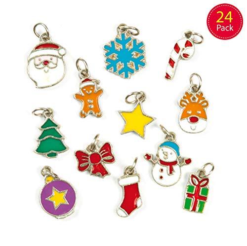 Baker Ross kersthanger - Ideaal voor sieraden, armband, halsketting en sleutelhanger, kunsthandwerk voor kinderen, geschenken en meer (verpakking met 24 stuks)