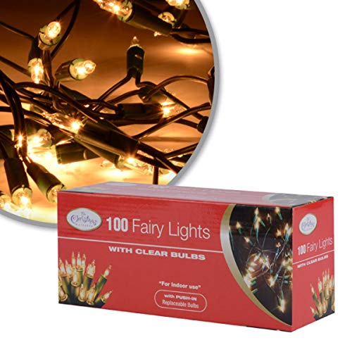 The Christmas Workshop 75220 Warm White Shadeless Christmas Tree Lights | 100 Static Decorative Fairy Lights | 7.9 Metres Long | Mains Operated | Indoor Home Christmas Decorations