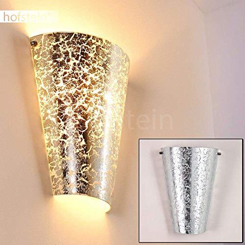 Wandlampe Zera aus Metall/Glas in Silber, moderne Wandleuchte mit Up & Down-Effekt, 1 x E27 max. 60 Watt, Innenwandleuchte mit Lichteffekt, geeignet für LED Leuchtmittel