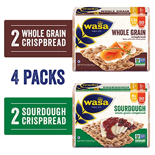 Wasa Swedish Crispbread Variety 4 Pack, Sourdough (Pack Of 2) & Whole Grain (Pack Of 2), All-Natural Crackers, Fat Free, No Saturated Fat, 0g of Trans Fat, No Cholesterol, Kosher Certified, 3 Lb