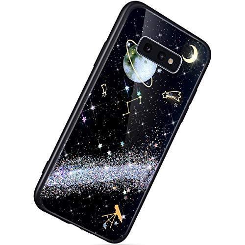 Herbests Kompatibel mit Samsung Galaxy S10e Hülle TPU Schutzhülle Glitzer Sterne Universum Planet Muster Ultra Dünn Handyhülle TPU Bumper Weiche Silikon Rückseite Stoßfest Hülle,Silber
