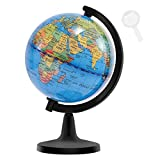 Wizdar 4' World Globes for Children, Educational World Map Globe Decorative Earth Globe for Classroom Geography Teaching, Office & Desk Decoration
