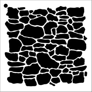 Stone Wall Stencil by StudioR12 | Repeating Pattern Art - Medium Reusable Mylar Template | Painting, Chalk, Mixed Media | Use for Crafting, DIY Home Decor - STCL1019 Select Size (12