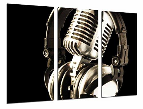 Cuadros Cámara Cuadro Fotográfico Decoracion Vintage, Microfono Antiguo, Musica, Multicolor, 97 x 62 cm XXL