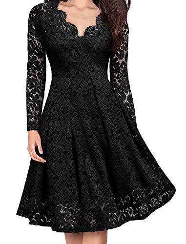 AmzBarley Vestido para Mujer Disfraz de Flor de Encaje Retro para Banquete de Damas Falda Sexy con Cuello En v Negro 2X Grande