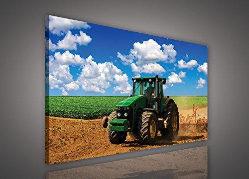 FORWALL Bilder Canvas Grüner Traktor auf dem Feld O4 (60cm. x 40cm.) Leinwandbilder Wandbild AMFPP1515O4