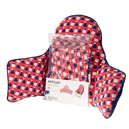 Ikea - Cuscino di supporto gonfiabile antiLOP e 2 federe rosso blu (per seggiolone)