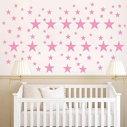 110 pegatinas de vinilo para pared, diseño de estrellas extraíbles, para niños y niñas, decoración de habitación de bebé, buena noche, decoración de pared, hogar, dormitorio, color rosa
