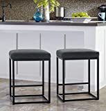 MAISON ARTS Counter Height Bar Stools Set of 2 for Kitchen Counter Backless Industrial Stool Modern Upholstered Barstool Countertop Chair Saddle Seat Island Stool with PU Leather (24 Inch, Black)