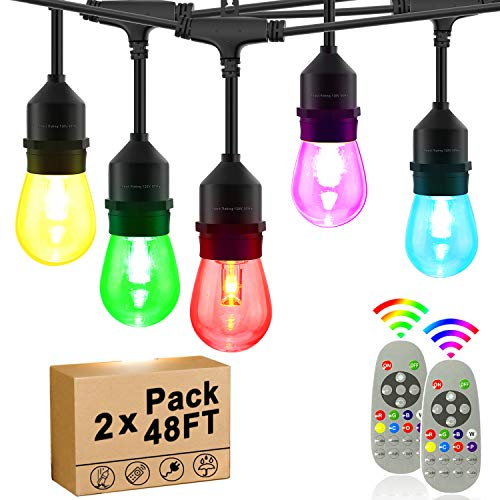 Outdoor String Lights RGB Color Change 48ft x 2-Pack, 15 Dimmable E26 Bulbs Shatterproof, UL Listed Commercial Grade Connectable Weatherproof for Patio Backyard Wedding Party
