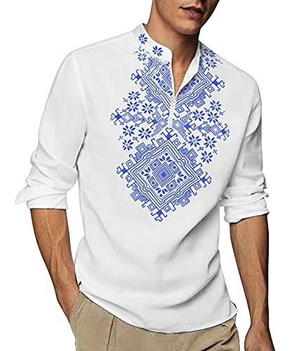 COOFANDY Men's Henley Shirt Long Sleeve Floral Print Casual Zip Up...