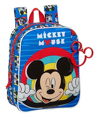 Safta Mochila Infantil de Mickey Mouse Me Time, 220x100x270mm, Azul/Rojo, M (M232)