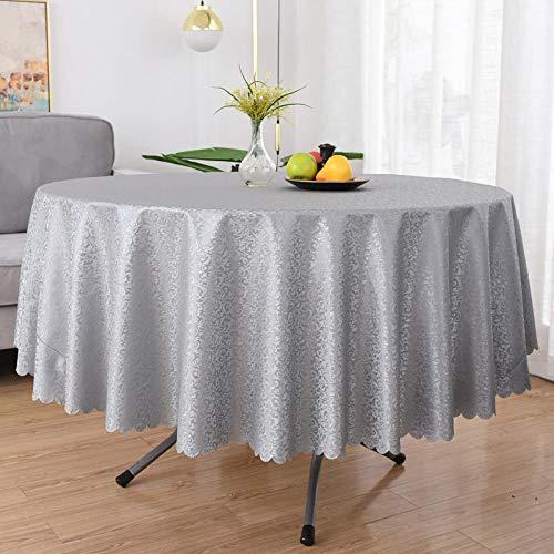 Dthlay Tafelkleed, van pvc, voor tuintafels, grijs, rond, tafelkleed, gemakkelijk te reinigen