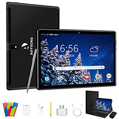 Tablet 10 inch Android 9.0, 1280x800 HD Touchscreen,4G+64GB Storage, with Wireless Keyboard Case Case, Type-C,BT4.2,WiFi, Android 9.0 Quad-Core Processor?8000 mAh