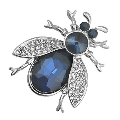 non-brand Elegante Aleación de Diamantes de Imitación de Cristal Azul Lindo Abeja Pin Broche Decoración Artística