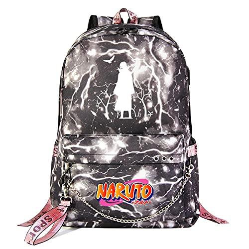 KUGRRFRC Mochilas Naruto Mochila escolar para estudiantes, Mochila de moda informal Ultrafina, impermeable y duradera con cadena USB