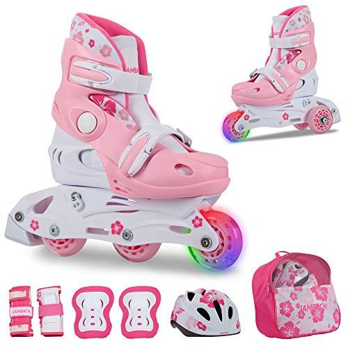 JAMBACH Kinder Inliner Inline Skates für Anfänger verstellbar Set Triskates mit Schutzset Helm Rucksack Rollschuhe Mädchen Jungen (S (30-33), rosa)